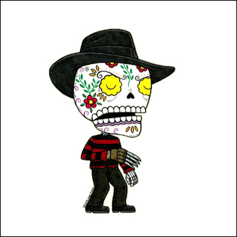 An image of a(n) Freddy Krueger inspired  Day of the Dead sticker.