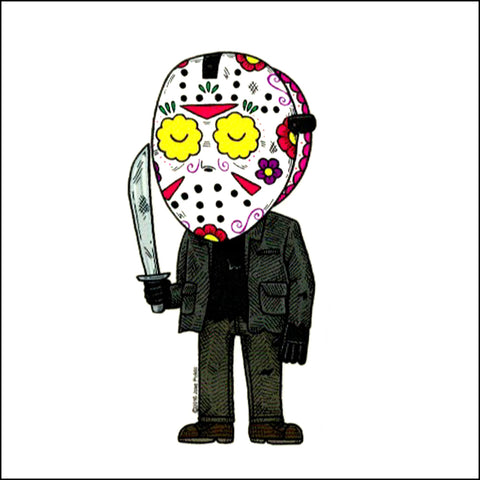 An image of a(n) Jason Voorhees inspired  Day of the Dead sticker.