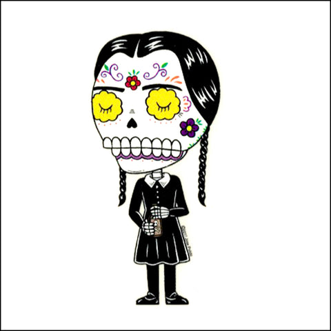 An image of a(n) Wednesday Adams inspired  Day of the Dead sticker.