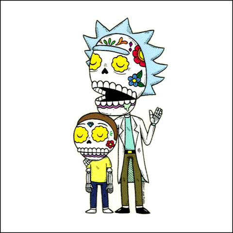 An image of a(n) Rick & Morty inspired  Day of the Dead sticker.