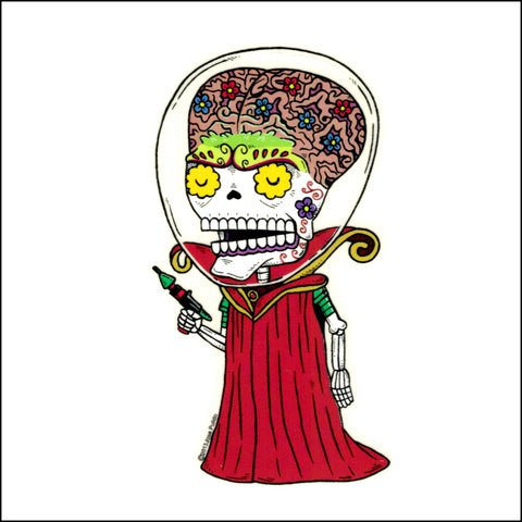An image of a(n) Martian Ambassador inspired  Day of the Dead sticker.