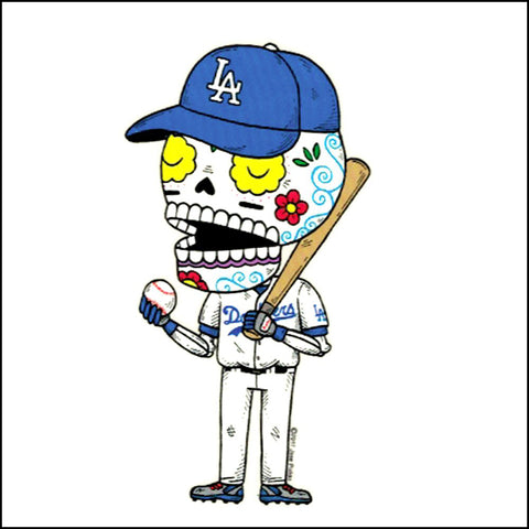An image of a(n) LA Dodgers inspired  Day of the Dead sticker.
