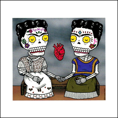 An image of a(n) The Two Fridas inspired  Day of the Dead sticker.