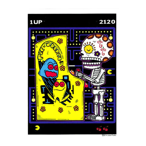 An image of a(n) Pac Man Muerto Day of the Dead Sticker.