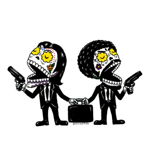 An image of a(n) Pulp Fiction Day of the Dead Sticker.