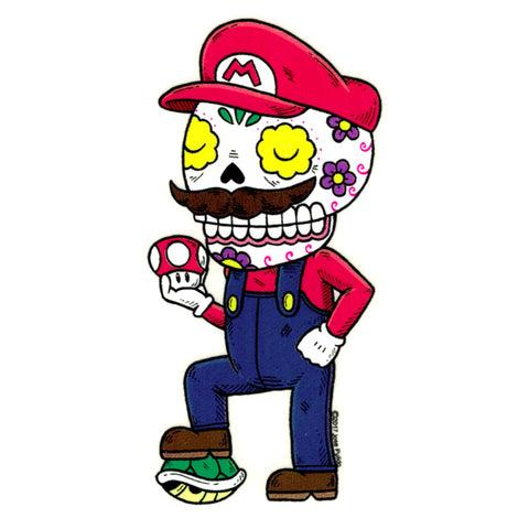 An image of a(n) Mario Day of the Dead sticker.