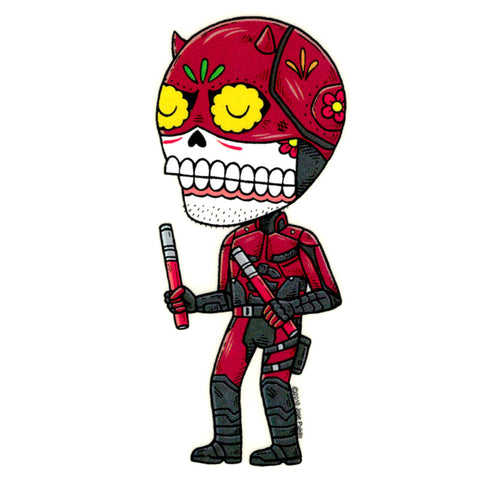 An image of a(n) Daredevil  Day of the Dead sticker.