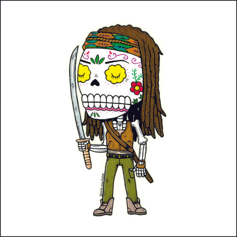 An image of a(n) Michonne Weather Proof Die Cut Vinyl Day of the Dead Sticker .