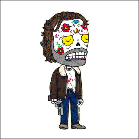 An image of a(n) Rick Weather Proof Die Cut Vinyl Day of the Dead Sticker .
