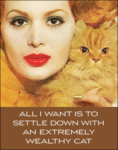 An image of a(n) All I Want is to Settle Down with an Extremely Wealthy Cat Ephemera Art Print.