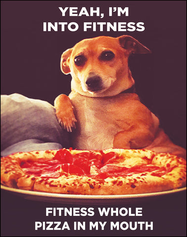 An image of a(n) Fitness Whole Pizza In My Mouth Ephemera Art Print.