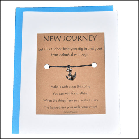 An image of a(n) New Journey with Anchor Charm Charmed Greetingl.
