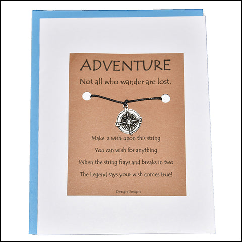 An image of a(n) Adventure with Compass Charm Charmed Greetingl.