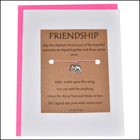 An image of a(n) Friendship with Elephant Charm Charmed Greetingl.