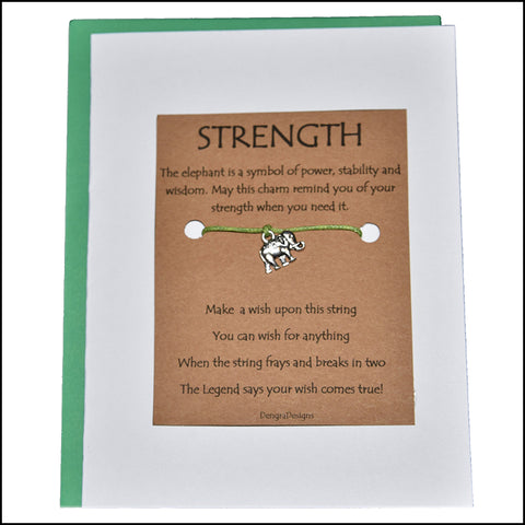 An image of a(n) Strength with Elephant Charm Charmed Greetingl.