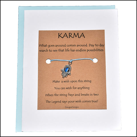An image of a(n) Karma with Evil Eye Charm Charmed Greetingl.