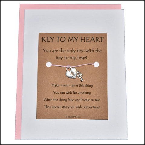An image of a(n) Key to My Heart with Heart Lock and Key Charm Charmed Greetingl.