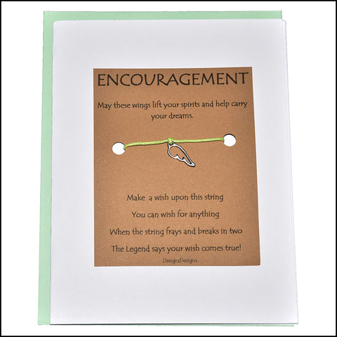 An image of a(n) Encouragement with Wing Charm Charmed Greetingl.