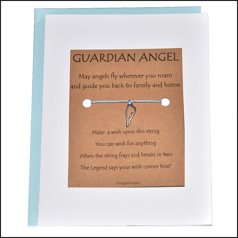 An image of a(n) Guardian Angel with Wing Charm Charmed Greetingl.