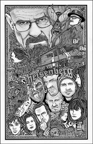 An image of a(n) Breaking Bad Letterpress Posterography Art Print.