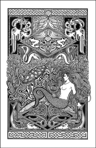 An image of a(n) Celtic Mermaid Letterpress Posterography Art Print.