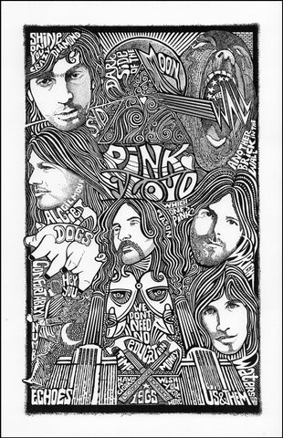 An image of a(n) Pink Floyd Letterpress Posterography Art Print.