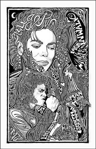 An image of a(n) Michael Jackson Letterpress Posterography Art Print.