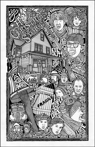 An image of a(n) A Christmas Story Letterpress Posterography Art Print.