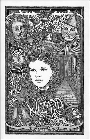 An image of a(n) Wizard of Oz Letterpress Posterography Art Print.