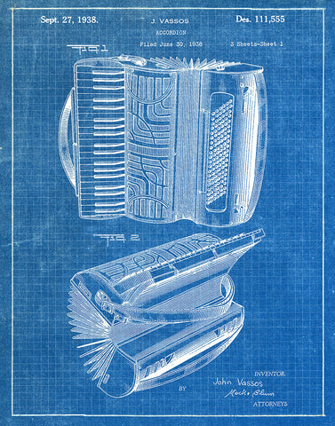 An image of a(n) Accordion 1938 - Patent Art Print - Blueprint.
