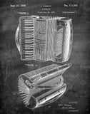 An image of a(n) Accordion 1938 - Patent Art Print - Chalkboard.