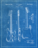 An image of a(n) Fender Guitar 1953 - Patent Art Print - Blueprint.