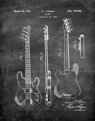 An image of a(n) Fender Guitar 1953 - Patent Art Print - Chalkboard.