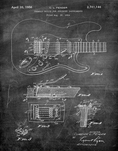 An image of a(n) Fender Guitar 1956 - Patent Art Print - Chalkboard.
