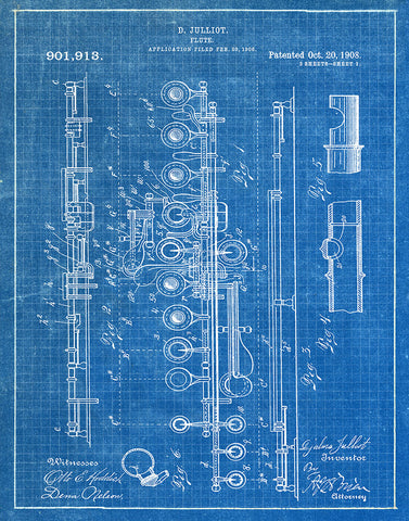Flute 1908 patent art print blueprint fresh prints of ct an image of an flute 1908 patent art print blueprint malvernweather Image collections
