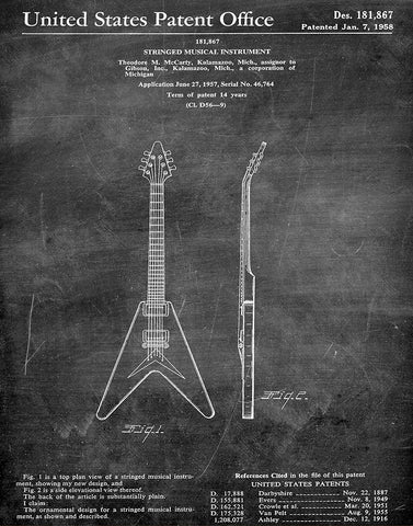 An image of a(n) Gibson Guitar 1958 - Patent Art Print - Chalkboard.