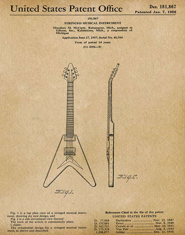 An image of a(n) Gibson Guitar 1958 - Patent Art Print - Parchment.