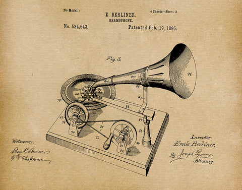 An image of a(n) Gramophone 1895 - Patent Art Print - Parchment.