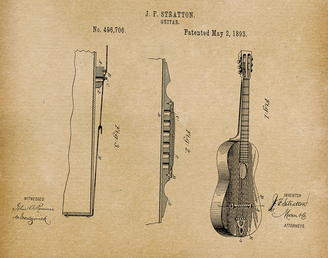 An image of a(n) Stratton Guitar 1893 - Patent Art Print - Parchment.