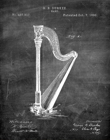 An image of a(n) Harp 1890 - Patent Art Print - Chalkboard.