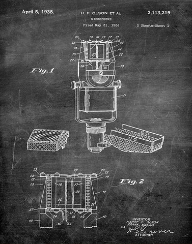 An image of a(n) Microphone 1938 - Patent Art Print - Chalkboard.