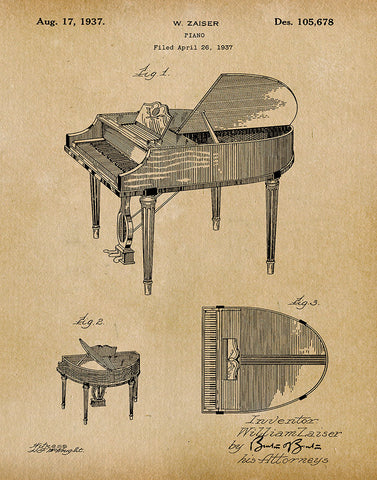 An image of a(n) Piano 1937 - Patent Art Print - Parchment.