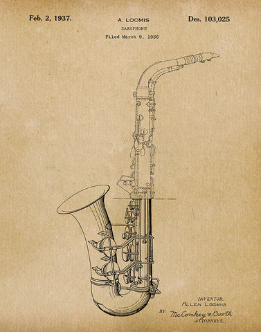 An image of a(n) Saxophone 1937 - Patent Art Print - Parchment.