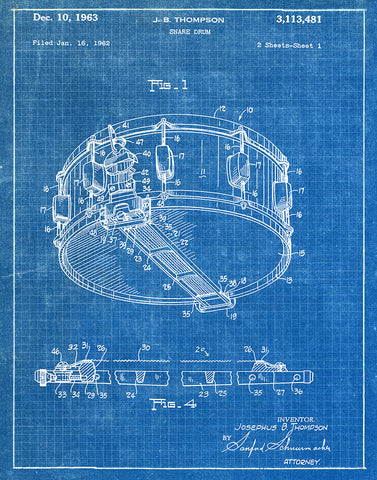 Snare drum 1963 patent art print blueprint fresh prints of ct an image of an snare drum 1963 patent art print blueprint malvernweather Image collections