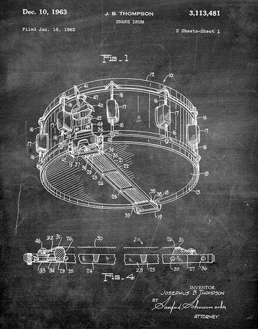 An image of a(n) Snare Drum 1963 - Patent Art Print - Chalkboard.