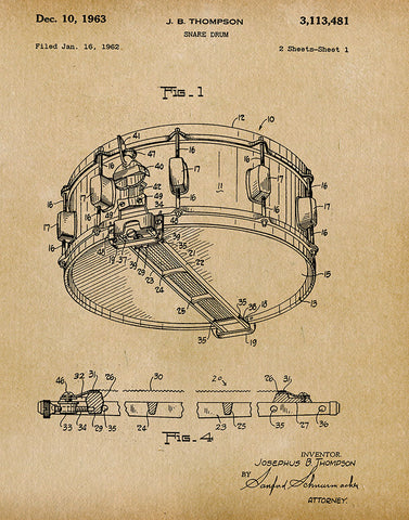 An image of a(n) Snare Drum 1963 - Patent Art Print - Parchment.