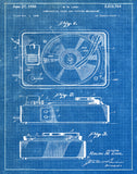 An image of a(n) Turntable 1950 - Patent Art Print - Blueprint.
