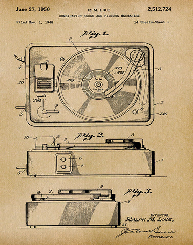 An image of a(n) Turntable 1950 - Patent Art Print - Parchment.