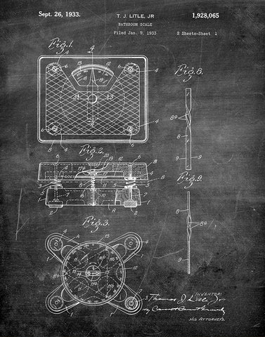 An image of a(n) Bathroom Scale 1933 - Patent Art Print - Chalkboard.