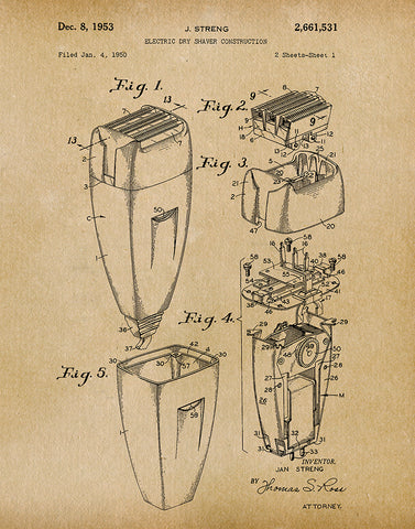 An image of a(n) Electric Shaver 1953 - Patent Art Print - Parchment.